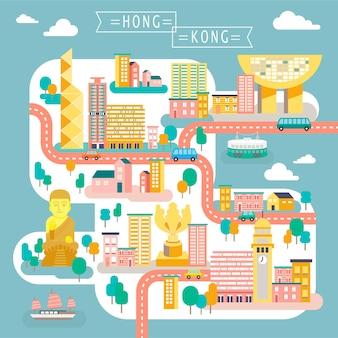 Attraktives hongkong-reisekartendesign im flachen stil