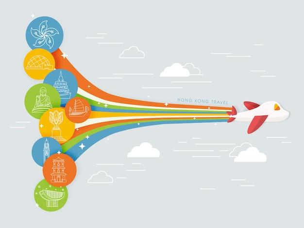Attraktives hongkong-reiseplakatdesign im flachen design