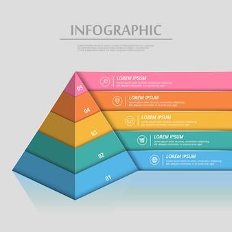 Attraktives infografik-schablonendesign mit pyramidenelementen