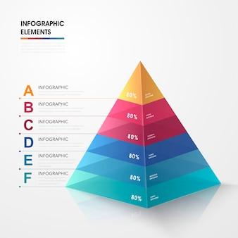 Attraktives infografikdesign mit bunten dreieckselementen 3d
