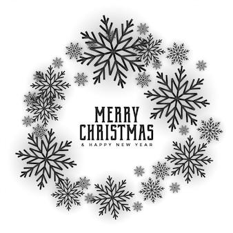 Attraktives kartendesign des schneeflockenrahmens der frohen weihnachten