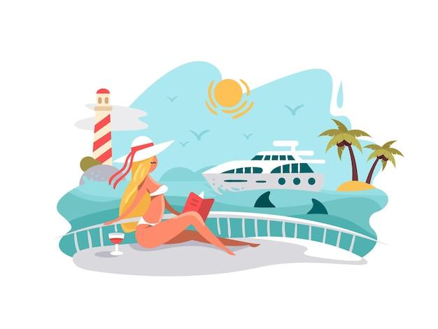 Attraktives mädchen, das buch auf deck der yacht liest. sommerferien auf see. vektorillustration