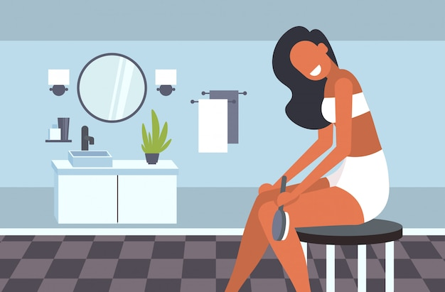 Attraktives mädchen, das haut ihrer beine mit einem pinsel für trockenmassage cellulite-behandlung trockenes bürsten hautpflege-konzept modernes badezimmer interieur horizontale illustration massiert