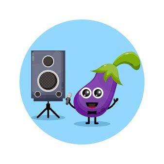 Aubergine karaoke süßes charakterlogo