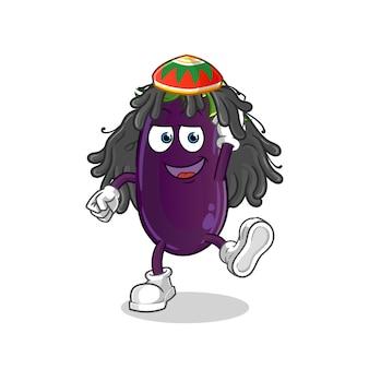 Auberginen-reggae-jungen-karikatur.