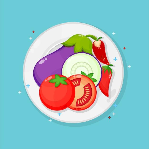 Auberginen, tomaten und rote chilis auf teller