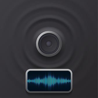 Audio-lautsprecher mit schallwellen eps 10