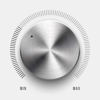 Audio-lautstärkeregler-technologie musiktaste mit rundem, gebürstetem metall aus chromstahl