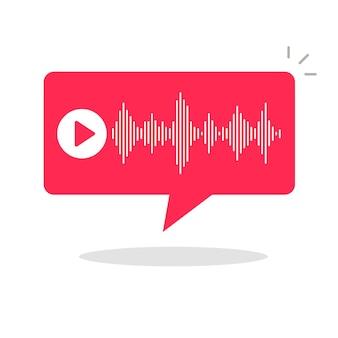 Audio-podcast-benachrichtigung benachrichtigungsblase sprache oder voice-chat-sms-nachricht digitaler tech-flat-cartoon