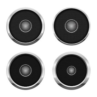 Audio-sprecherillustration auf weißem hintergrund