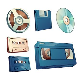 Audio- und filmaufzeichnungen, informationsweinleseträgerkarikatursatz lokalisiert auf weißem hintergrund.