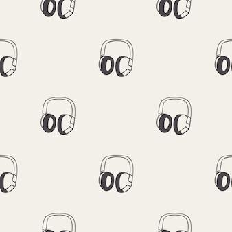 Audiokopfhörermuster, musikillustration. kreatives und luxuriöses cover