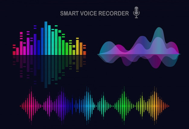 Audiowelle vom equalizer. musikfrequenz im farbspektrum. flaches design
