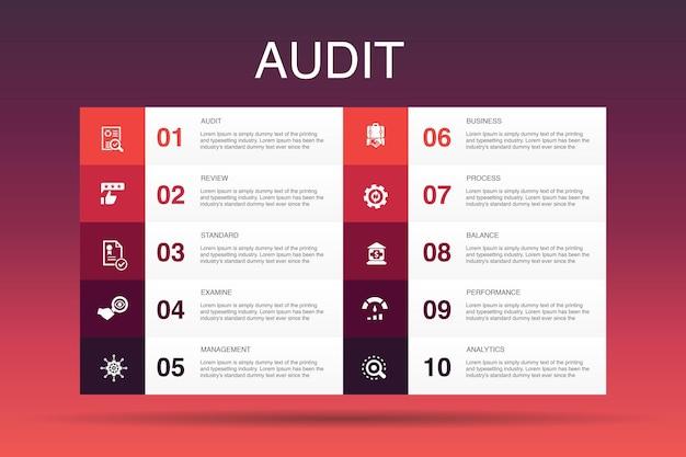 Audit infografik 10 optionsvorlage. einfache symbole überprüfen, standardisieren, untersuchen, verarbeiten