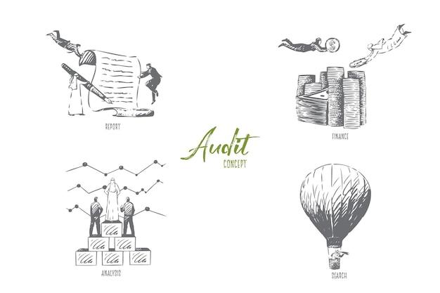 Audit-suchkonzept-skizzenillustration