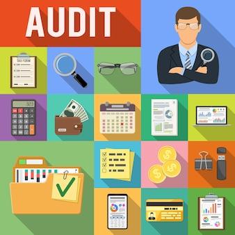 Auditing, steuern, business accounting flat icons set auf farbigen quadraten mit langen schatten. auditor hält lupe in der hand, diagramme, taschenrechner und smartphone. vektor-illustration