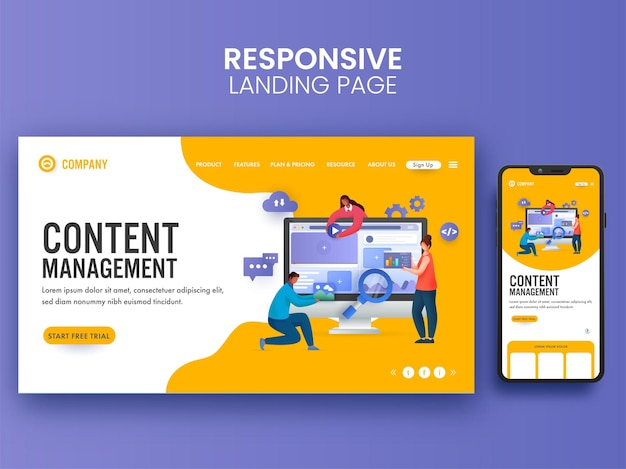 Auf content management concept basierende landing page mit geschäftsleuten, die zusammenarbeiten, und smartphone-illustration.