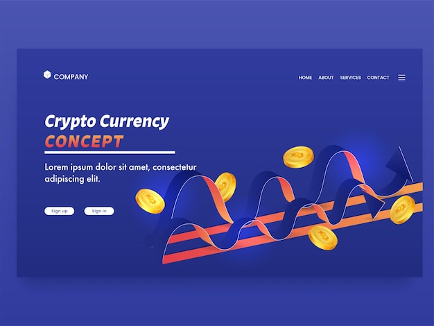 Auf crypto currency concept basierende landing page mit goldenen bitcoins und wellen auf blauem hintergrund.