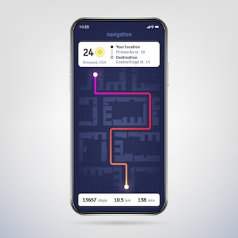 Auf dem stadtplan navigieren. online-navigator-app. gps-navigationsanwendung auf dem telefonbildschirm.