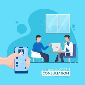 Auf dem virtuellen online-konsultationskonzept basierendes poster, gesichtsloser arzt, der mit dem patienten auf blauem hintergrund spricht.