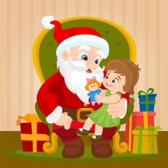 Auf dem weihnachtsmann schoß sitzen