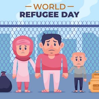 Auf der straße lebende flüchtlingsfamilie