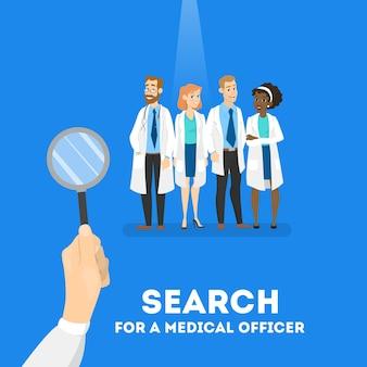 Auf der suche nach einem arztkonzept. krankenhausarbeiter brauchen. auf der suche nach profi mit lupe. illustration