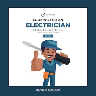 Auf der suche nach einem elektriker banner design für social media vorlage