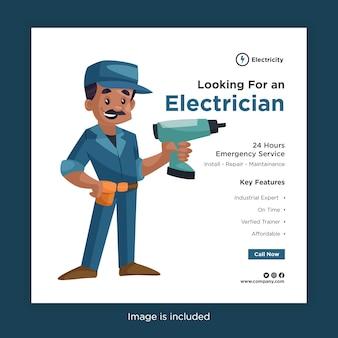 Auf der suche nach einer elektriker-banner-entwurfsvorlage für soziale medien mit elektriker mit einer bohrmaschine