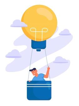 Auf der suche nach inspiration mit mann auf luftballon von glühbirne