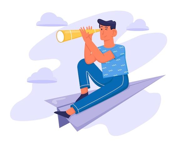 Auf der suche nach inspiration mit mann halten teleskop und sitzen im flugzeug