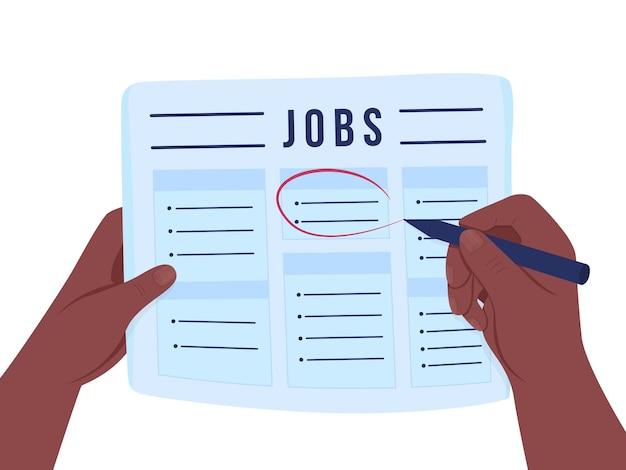 Auf der suche nach job flat illustration. stellenangebote in der zeitung markieren.