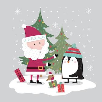 Auf der weihnachtsfeier treffen sich süße pinguine mit dem weihnachtsmann
