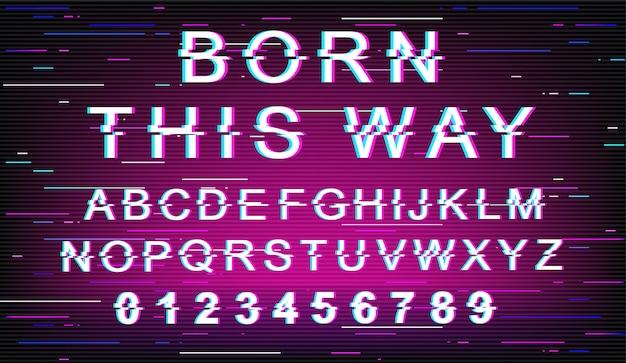 Auf diese weise geboren glitch font vorlage. retro futuristisches artalphabet gesetzt auf violettem hintergrund. großbuchstaben, zahlen und symbole. toleranzschriftdesign mit verzerrungseffekt