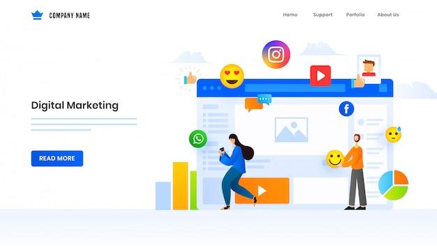 Auf digital marketing basierende landingpage mit mann und frau, die online-social-media-elemente verwendet.