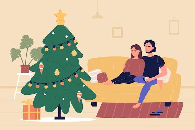 Auf einem gemütlichen sofa sitzen und umarmen Premium Vektoren