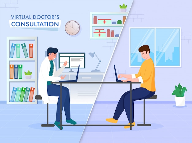 Auf einem online-beratungskonzept basierendes poster mit einem patienten, der einen videoanruf vom laptop zum virtuellen arzt hat.