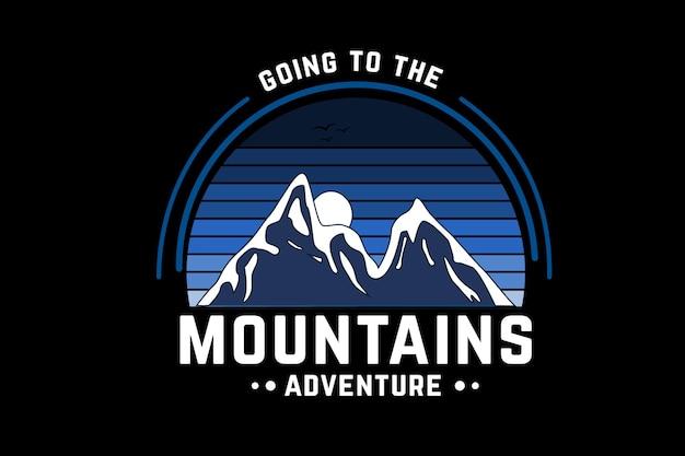 Auf in die berge abenteuerfarbe blau