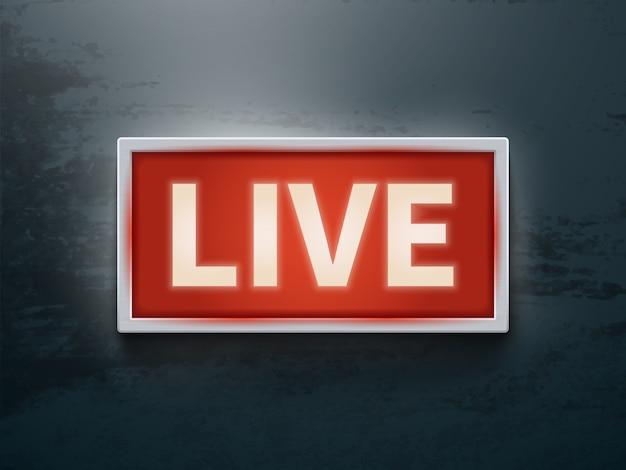 Auf leuchtendem luftzeichen. live-tv oder radio licht vektor symbol
