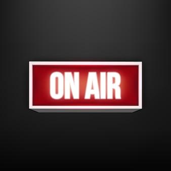 Auf sendung live leuchtender fernseher, radiosender, rundfunk.