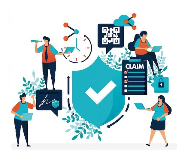 Auf sicherheitsschutz und sicherheitsqualitätsgarantien prüfen. umfrage zum einreichen von versicherungsansprüchen