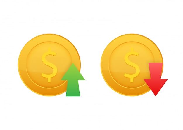 Auf und ab dollarzeichen auf weißem hintergrund. lager illustration.
