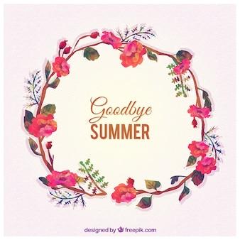 Auf wiedersehen im sommer mit blumenkranz