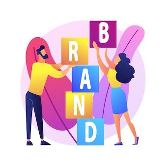 Aufbau einer produktmarke. corporate identity design. studio designer flache charaktere teamwork, kooperation und zusammenarbeit. name der firma.
