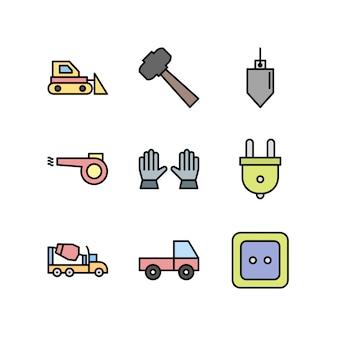 Aufbau ikonen getrennt auf weiß