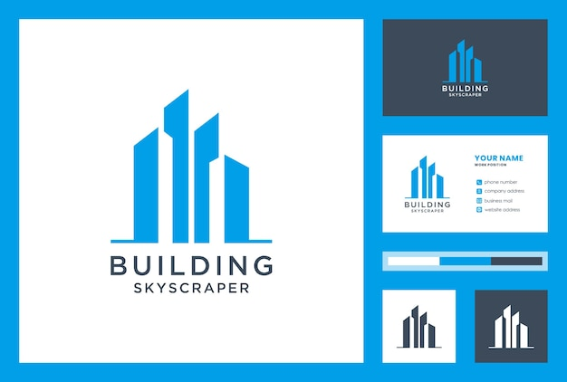 Aufbau logo design inspiration mit visitenkarte. wolkenkratzer.