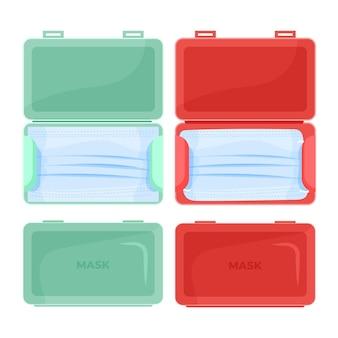 Aufbewahrungskoffer für gesichtsmasken mit flachem design