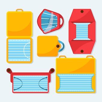 Aufbewahrungskoffer-sammlung der flachen gesichtsmaske