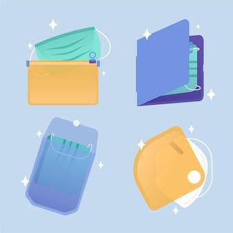 Aufbewahrungskoffer-sammlung der gesichtsmaske des flachen designs