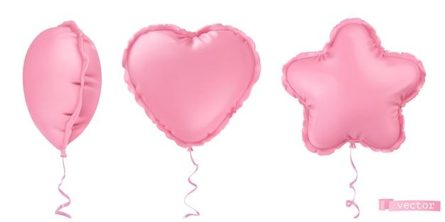 Aufblasbare folienballons. stern, herz. feiertagsdekorationen 3d realistischer vektorobjektsatz
